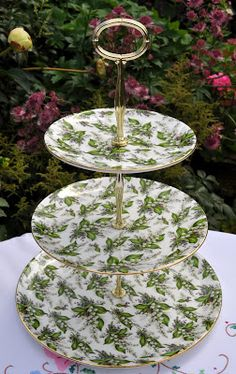 New Bone China Chintz 'Lily of the Valley' 3 Tier Cake Stand to buy 3 Tier Cupcake Stand, Tiered Cake Stands, Cake Pop Stands, Pedestal Cake Stand, Tiered Stand, Tier Cake, Display Stands, Shabby Chic Cake Stand, Cake Stand Decor