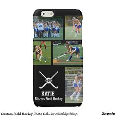 Custom Field Hockey Photo Collage Name Team Number Glossy iPhone 6 Case