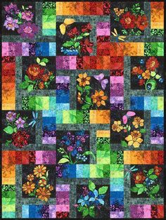 Floragraphix Batiks IV Enchanted Garden Quilt Kit, quilt and fabric designed by Jason Yenter from In the Beginning Fabrics. Kit includes fabric for quilt top, binding & quilt pattern. Batik Quilts, Panel Quilts, Quilt Kits, Quilt Blocks, Sewing Crafts, Sewing Projects, Sewing Ideas, Diy Crafts, Sewing Diy