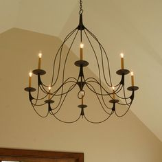 Bell 8 Candle Chandelier by Studio Steel 202 Farmhouse Lighting, Chandelier In Living Room, Dining Room Lighting, Chandelier Ceiling Lights, Chandelier Lighting, Colonial Decor, Living Room Lighting, Chandelier, Candle Chandelier