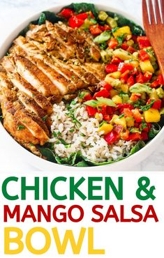 A delicious chicken and mango salsa bowl perfect for the summer! Sweet tangy and creamy flavors paired with delicious Cajun chicken and brown rice you cant go wrong! Yummy Chicken Recipes, Yum Yum Chicken, Turkey Recipes, Healthy Dinner Recipes, Cooking Recipes, Easy Recipes, Juice Recipes, Healthy Dinners, Healthy Eats