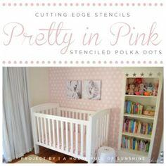 Cutting Edge Stencils shares a DIY stenciled accent wall in a pink nursery using the Polka Dot Allover Stencil. http://www.cuttingedgestencils.com/polka-dots-stencils-nursery.html #cuttingedgestencils #stencils #stenciling #wallstencils #nursery #diy #polkadot