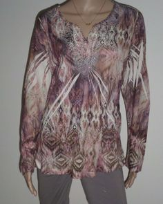 75f0441dee0a4 Chico s Size 2 Tunic Top Brown Tan Purple Tribal Pattern Long Sleeves Knit  Shirt  Chicos  Tunic