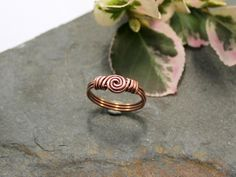 Spiral Love Knot Ring - Copper - wire wrapped ring - Copper wire