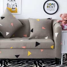 Universal Stretch Sofa Covers For Home Decoration 100% Polyester Triangle  Pattern Elastic Corner Sofa Covers