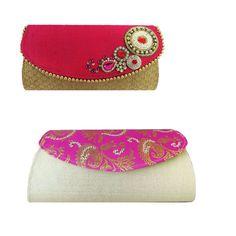 Bright Pink Red Handmade Embellished Clutch By Ithinkfashion 22 00 Designer Handbags
