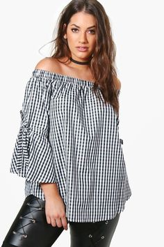 Plus Fiona Off The Shoulder Gingham Tie Sleeve Top