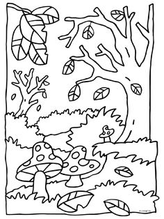 Fall colouring page woods Easy Fall Crafts, Crafts For Kids To Make, Colouring Pages, Coloring Sheets, Fall Preschool, Seasons Of The Year, Creative Kids, Line Drawing, Art Projects