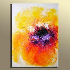 Original Modern Orange Yellow Purple Flower Abstract Acrylic Painting On Canvas