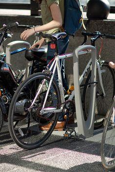 Trio Bike Racks shown with Aluminum Texture powdercoat