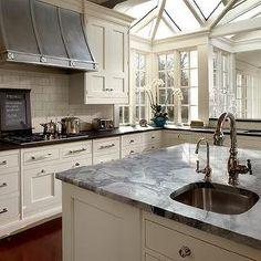 O'Brien Harris - kitchens - blue kitchen paint, kitchen paint colors, blue kitchen walls, kitchen crown molding, ivory kitchen cabinets, ivo...