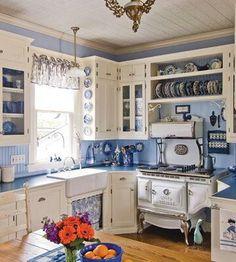 country kitchen more white kitchen country kitchen farmhouse kitchen . Blue White Kitchens, Kitchen Colors, New Kitchen, Victorian Kitchen, House Design Kitchen, Home Kitchens, Farmhouse Kitchen Remodel, Retro Kitchen, Shabby Chic Kitchen