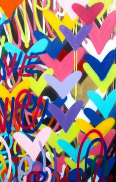 ORIGINAL Valentines day Love painting signed pop art fine art graffiti street art contemporary nyc m Valentine Day Love, Valentines, Heart Graffiti, San Paulo, Artsy Background, School Murals, Most Famous Artists, Spray Paint On Canvas, Aboriginal Art