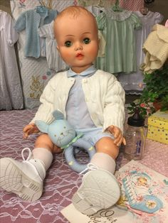 """1950's 26""""horsman baby doll with sculpted hair. A find from a road trip to springfield!!"""