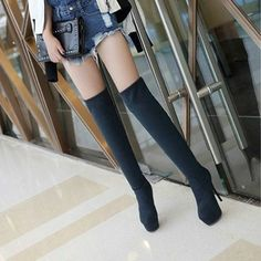 Stiletto Heels Women Boots Fashion Leather Stockings Platform High Heel Sexy Solid Cement Nubuck Overknee Stovepipe Faux Fur