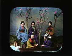 Portrait of five girls with boat :: Japanese Lantern Slides (Dominican University)