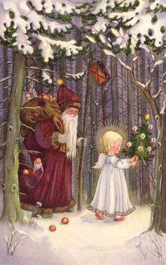 Lieselotte fabig-Distling German Christmas, Old Fashioned Christmas, Magical Christmas, Christmas Angels, Christmas Greetings, Vintage Christmas Images, Retro Christmas, Christmas Pictures, Christmas Colors