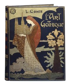 Book Cover: Louis Gonse, L'art gothique Design: Eugène Grasset (1845-1917), Type: René Wiener (1855-1939) around 1898 Nancy book cover with leather inlay 40 x 32 x 6.5 cm From versatile Eugène Grasset the Entwurfszeichung dates for this unique book cover. Acquired at the World Exhibition in Paris in 1900 by René Vienna | Photo: Maria Thrun / MKG