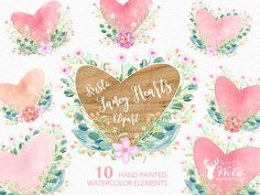 Hand Painted Watercolor Fancy Floral Rustic Heart Clipart Pack This hand painted watercolor clipart set is perfect for wedding invitations, art prints, cards, blogs, posters and much more! ----------------------------------------------------------------- INSTANT DOWNLOAD Once