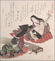 Japanese Print Reproductions: Two Playing Instruments - Fine Art Print #Asian