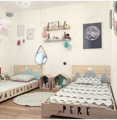 Shared bedroom brother and sister for children. Diy Toddler Bed, Toddler Rooms, Baby Boy Rooms, Baby Bedroom, Girls Bedroom, Unisex Bedroom Kids, Boy And Girl Shared Bedroom, Girl Room, Unisex Baby