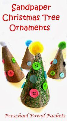Sandpaper #Christmas Tree Ornament Kids Craft #preschoolactivities