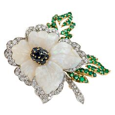 Carved Opal Flower Brooch with Sapphires, Diamonds, and Emeralds