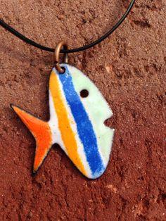 Enamel fish pendant by HammeredandHeated on Etsy,