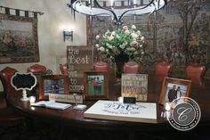 Framed pictures, guest book, and signage for the sign in table | Classic Digital Photography | villasiena.cc
