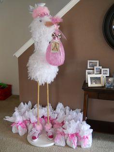 diy stork   DIY stork for baby shower!