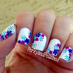 flower nail – 50 Flower Nail Art Designs ♥ ♥ Previous Post Next Post Cute Nail Art, Beautiful Nail Art, Cute Nails, Pretty Nails, Nail Art Designs, Flower Nail Designs, Fancy Nails, Diy Nails, Manicure