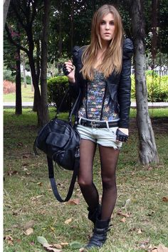 BIKER BOOTS half gloves leather jacket tights shorts leather purse rock   This is for sure one of my favorites.  Zara floral corset, leather jacket and biker boots from Miss Sixty!  Come to see more detailes of this look on my blog!  Will be happy to see u!  www.myneonrock.blogspot.com