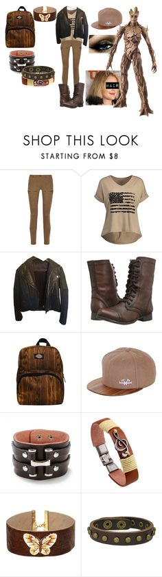 """""""Groot"""" by eveningouttoyourgrave ❤ liked on Polyvore featuring Belstaff, American Retro, Steve Madden, Dickies, Vanessa Mooney, Punk, marvel and guardiansofthegalaxy"""