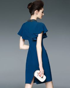 Branded Quality Fashion and Accessories Ruffle Sleeve, Sheath Dress, Cold Shoulder Dress, Pasta, Sleeves, Blue, Dresses, Fashion, Vestidos