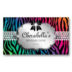 50% OFF BUSINESS CARDS!!  Hurry sale ends 8pm PST!!  Use code RUSHBIZCARDS :: Jewelry Business Card Zebra Rainbow Bow Heart