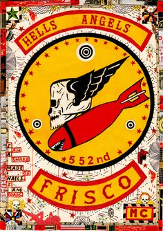 Available for sale from Pierogi, Tony Fitzpatrick, Hell's Angels Frisco Mixed media on paper, 10 × 7 in Hells Angels, Biker Clubs, Motorcycle Clubs, Tony Fitzpatrick, David Mann Art, Angel Artwork, Angels Logo, Angel Drawing, African Clothing For Men
