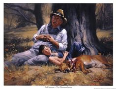This reminds me of my children and their Paw Paw. Title: Afternoon Snooze Artist: Jack Sorenson