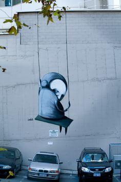 "Street art | Mural ""The Swing Overlooking the Field"" (Howard Lane, Perth, Australia, 2010) by Stormie Mills"