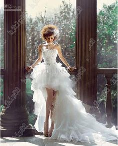 Best-selling New Sexy Beading Organza High-low Wedding Dress Bridal Gown Evening Dress