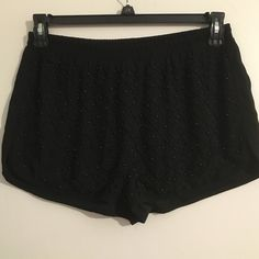 Shorts It Is! Brand New With Tag Summer seems far away but just around corner! Short shorts adorned with beaded front design & plain back. Elastic waist line assures comfort. Brand new never worn with tag. Forever 21 Shorts