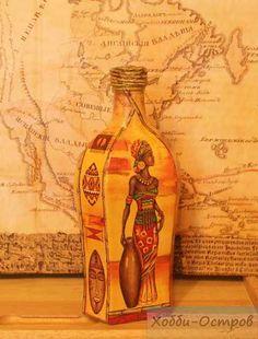 Декоративная посуда ручной работы. Ярмарка Мастеров - ручная работа Бутылка Африканские леди, декупаж. Handmade.