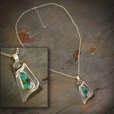 Austalian Opal sterling silver necklace.