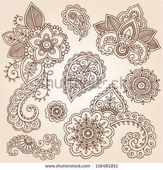 Henna-Blumen und Paisley-Mehndi-Tattoo-Skizzen-Set - abstrakte Blumen Vektor-llustration Gestaltungs-Elemente.