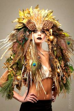 MADE TO ORDER Fantasy Woodland fairy nymph goddess headdress headpiece gaga steampunk burlesque costume from PoshFairytaleCouture on Etsy. Mode Costume, Woodland Fairy, Headgear, Headpieces, Fascinators, Costume Design, Wearable Art, Wigs, Creations