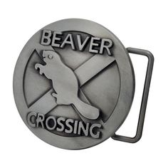 Silver BEAVER CROSSING Belt Buckle Cool Funny Hip Animals #Funny