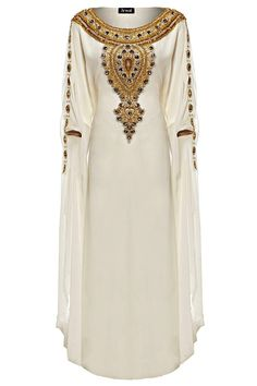 This luxurious design thats sure to turn heads, this full-length gown flows over curves and boasts an ornate embellished design with gold beads, crystals and shimmering sequins. Perfect for an extravagant evening do or a glam holiday abroad a ship. Cream Polyester fabric with hand work