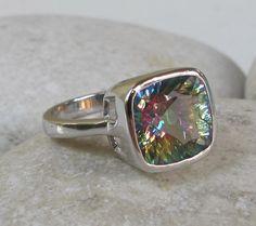 Topaz Ring Statement Rings Mystic Topaz Ring Gemstone by Belesas