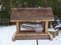 Wooden Barn Board Bird Feeder