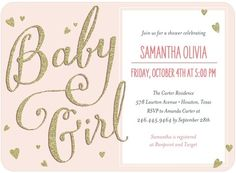 Decorate your baby shower with hearts and gold glitter and sparkles to match this new invitation from Tiny Prints!
