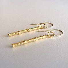 Gold Bamboo Earrings. $56.00, via Etsy.